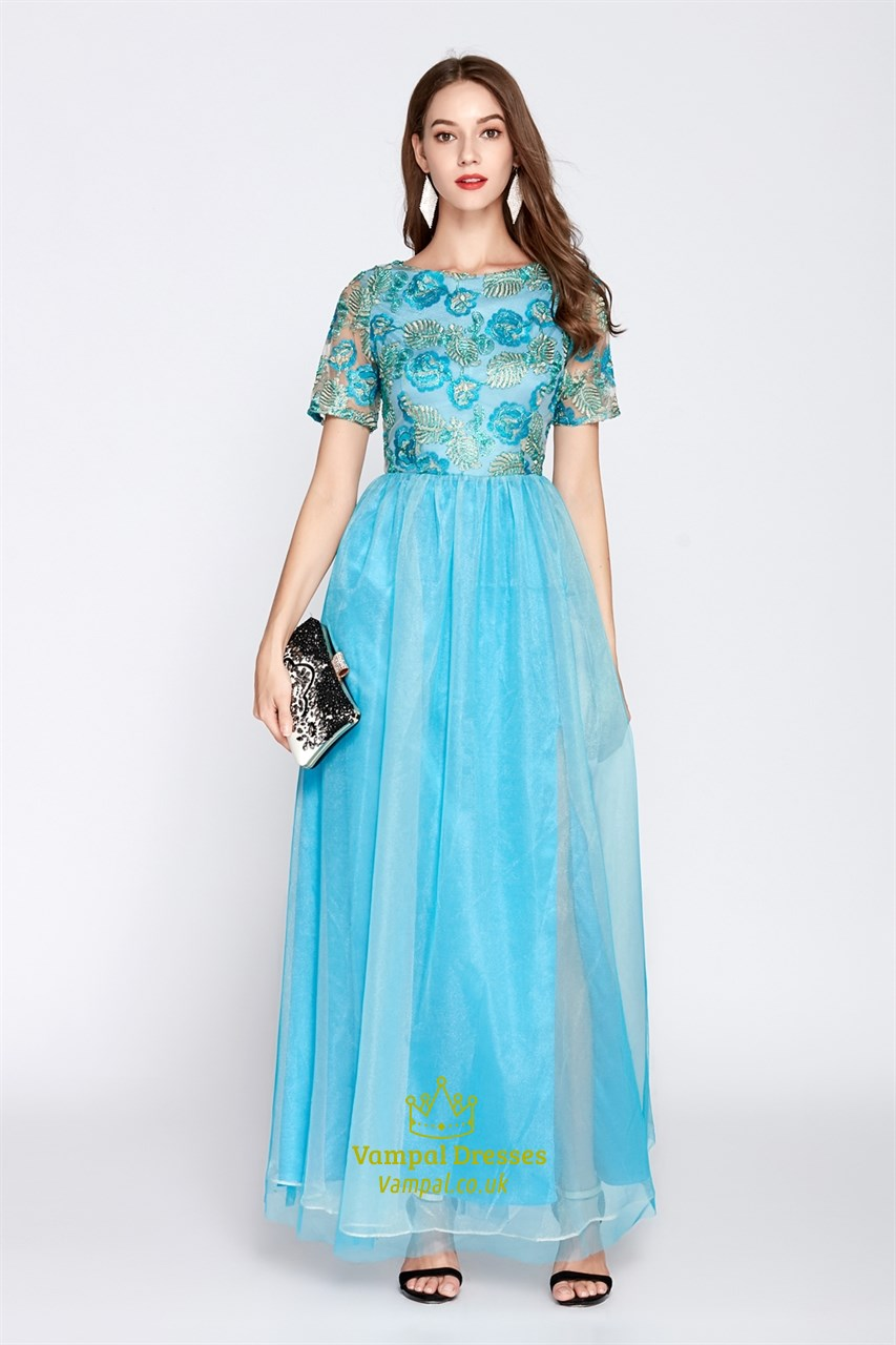 Turquoise Lace Bodice Floor Length Bridesmaid Dresses With