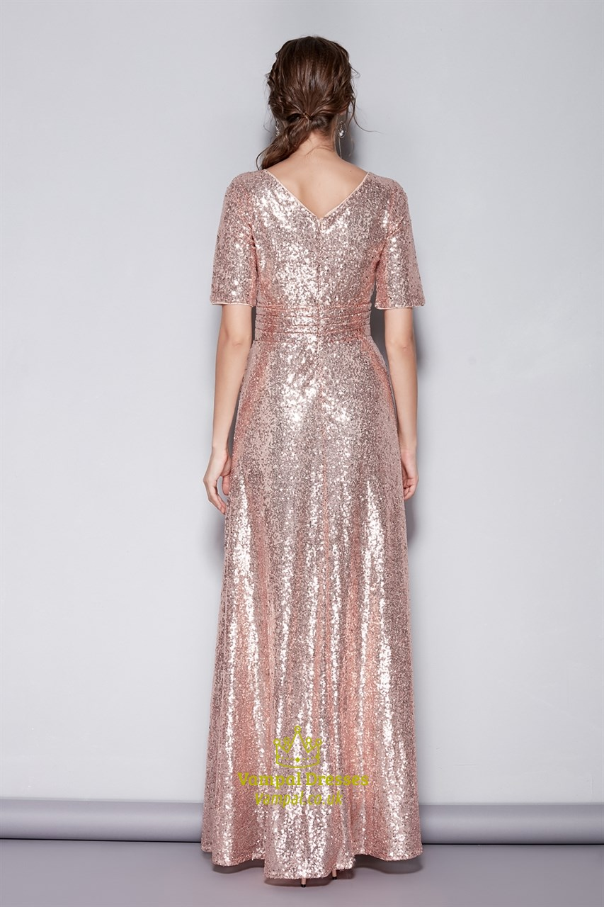 4e733759de3a Pink V-Neck Sequin Short Sleeves Bridesmaid Dress With Sash Ruched ...