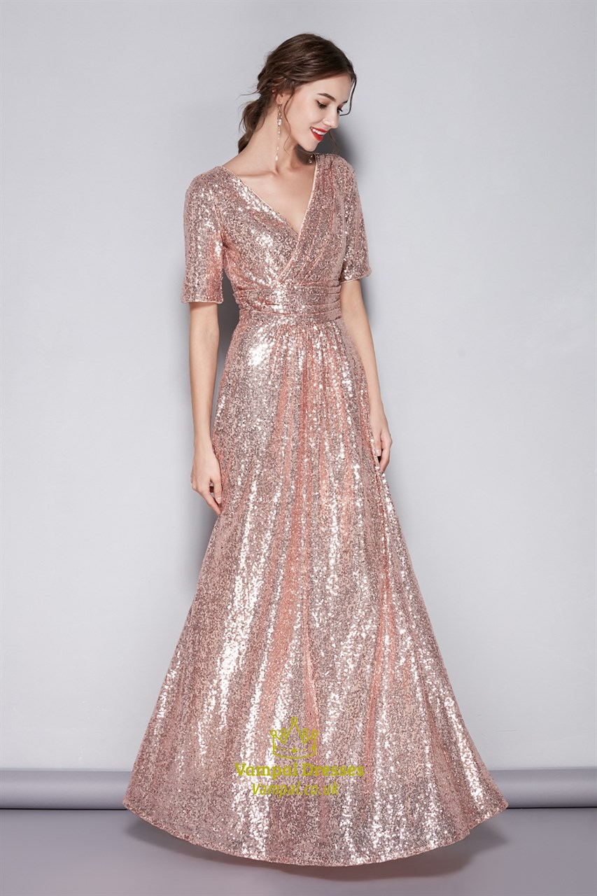pink vneck sequin short sleeves bridesmaid dress with