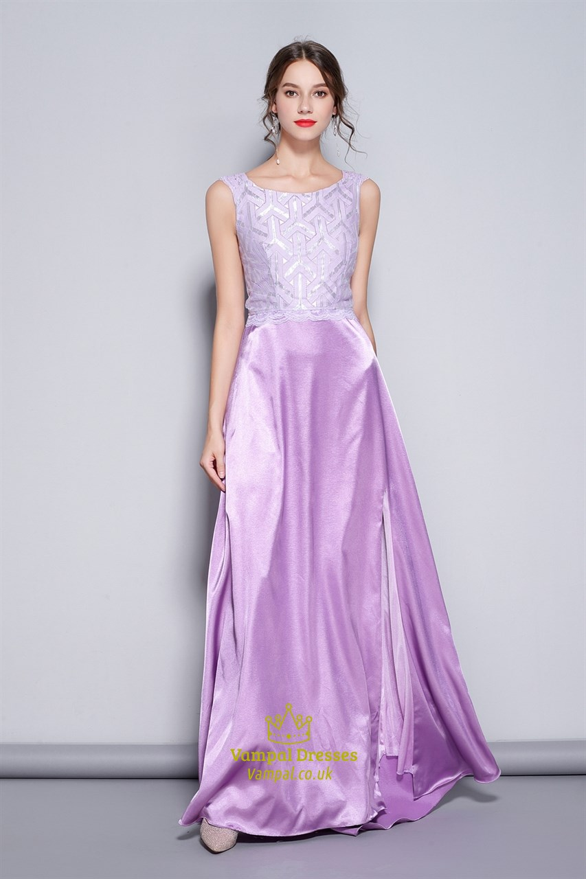 Lilac Sleeveless Lace Embellished Prom Dresses With Slits Up The ...