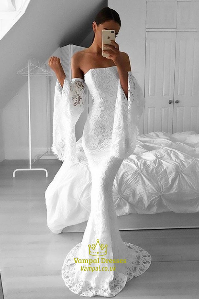 8f0cd567 White Lace Strapless Floor Length Mermaid Prom Dress With Bell Sleeve SKU  -FS2418
