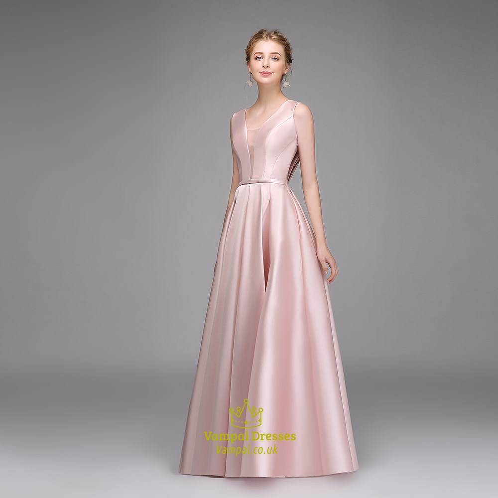 3727248f0ea Simple A Line Pink V Neck Sleeveless Pleated Satin Prom Dress ...