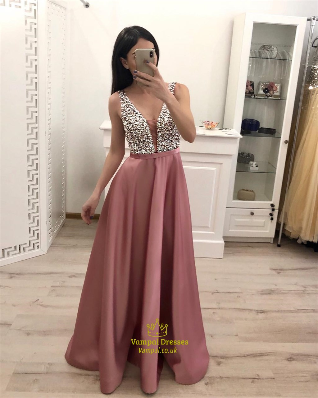 Pink Sparkly Beading Top Straps Satin Evening Dresses