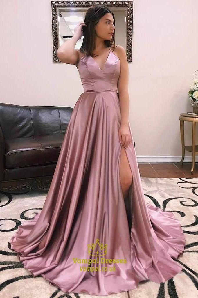 Long Blush Pink A Line High Slits Sexy Prom Dress Vampal