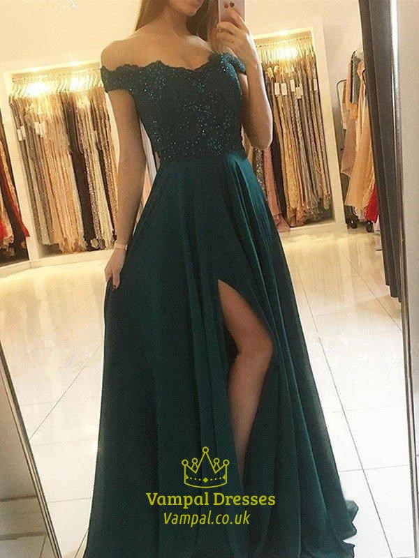 Emerald Green Off The Shoulder Lace Applique Evening Dress