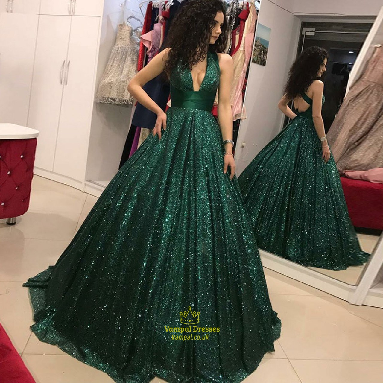 Vintage Emerald Green Deep V Neck Sequin Prom Dresses With