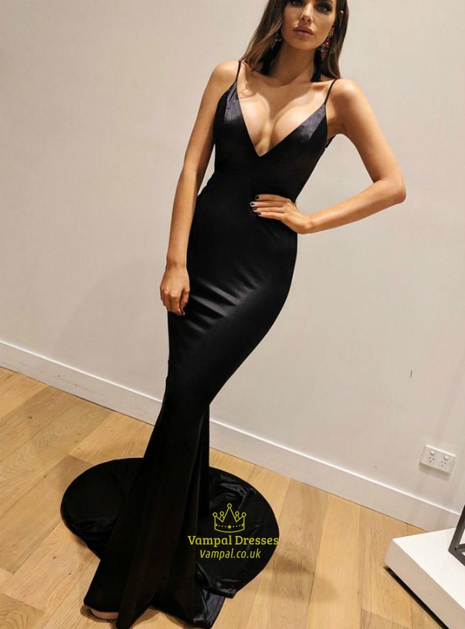 Black Spaghetti Strap V Neck Long Prom Dresses With Open Back