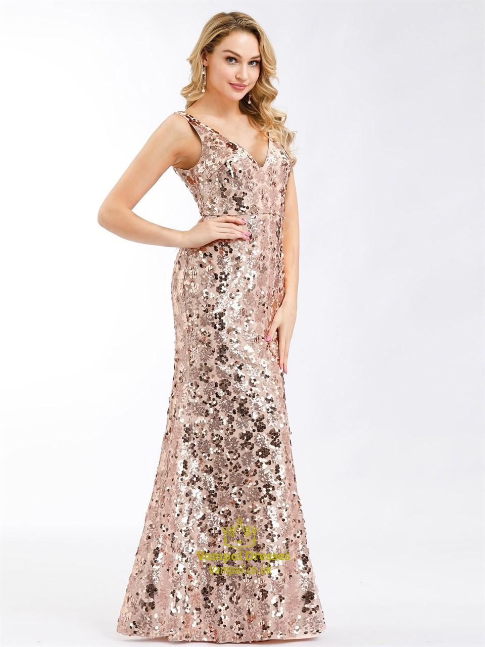 Striped Rose Gold Sequin V-neck Mermaid Long Prom Dress - VQ