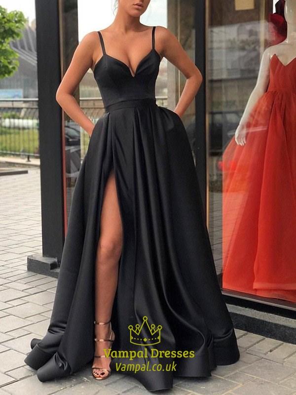 Long Black V Neck Spaghetti Strap Prom Dresses With Slits Up The Side