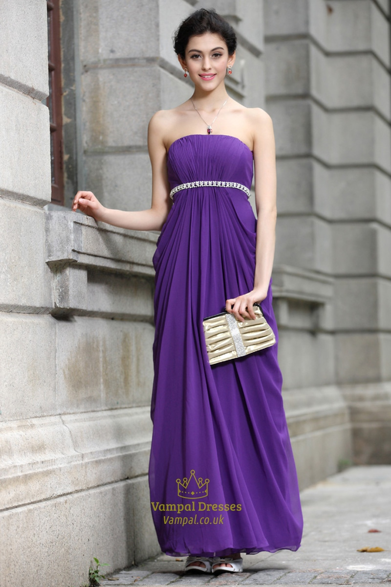 Long Purple Chiffon Bridesmaid Dresses,Modest Bright Purple ...