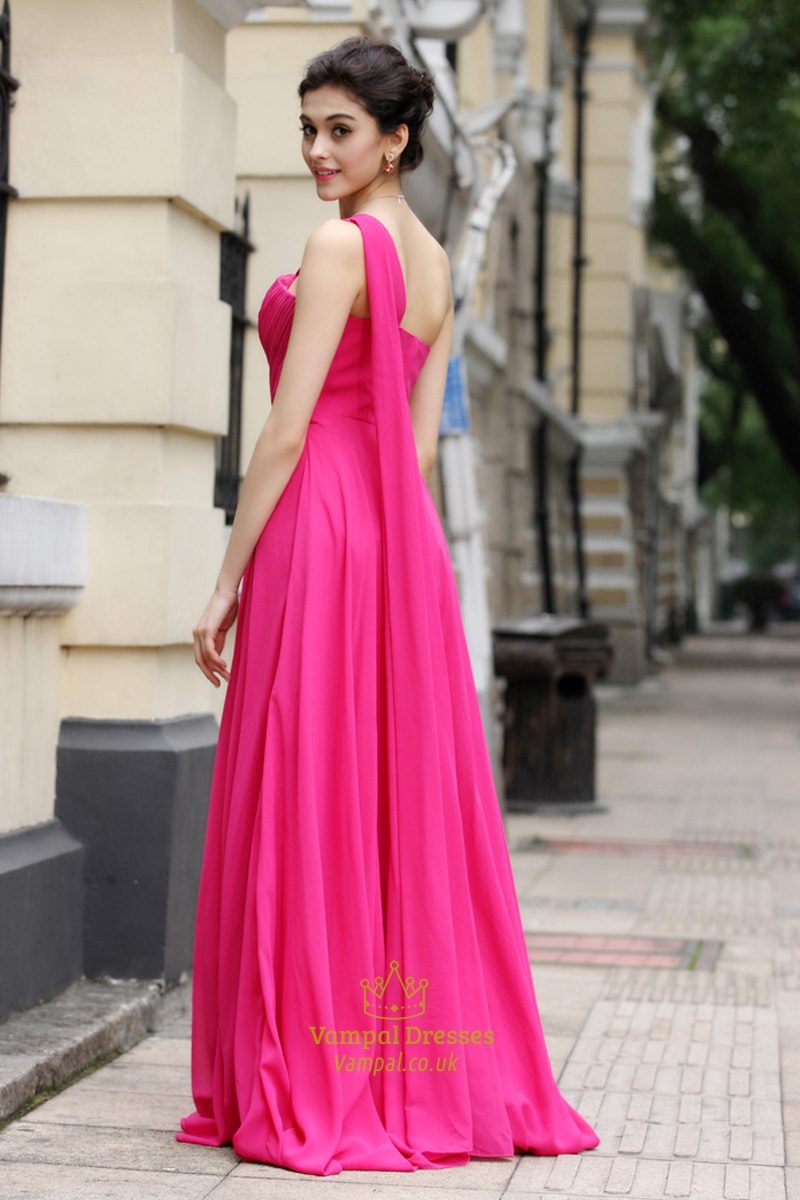 Hot pink one shoulder bridesmaid dresses one strap fuschia for Wedding dresses one strap
