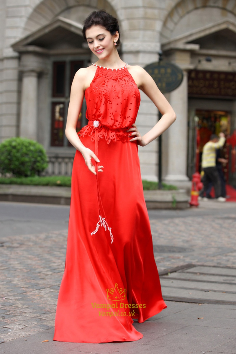 Long Red Chiffon Prom Dress,Red Prom Dresses With Lace Top ...