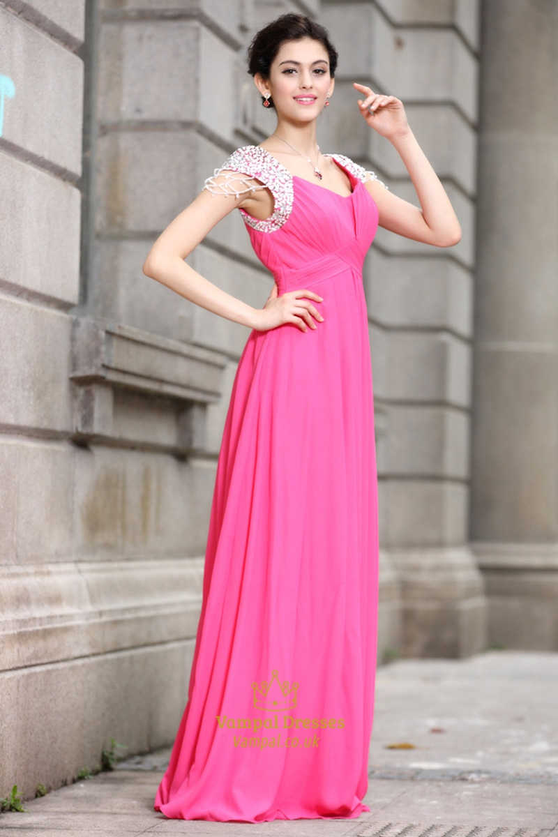 Hot Pink Prom Dresses With Cap Sleeves,Hot Pink Dresses For Damas ...