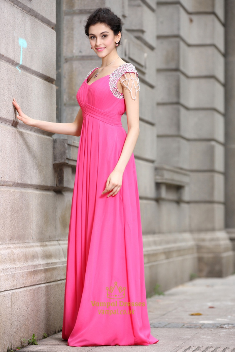 Pink Dressers For Girls Bedroom Set: Hot Pink Prom Dresses With Cap Sleeves,Hot Pink Dresses