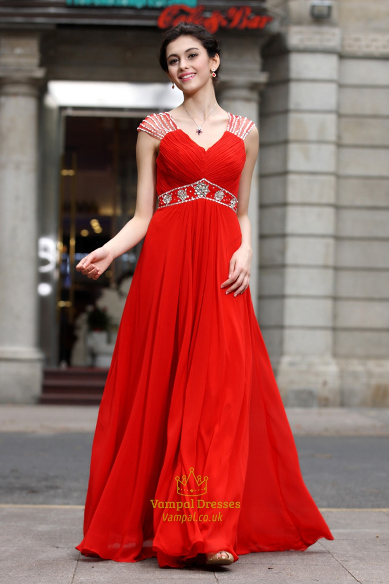 Red Pleated Cap Sleeves Chiffon Dress,Red Prom Dresses ...