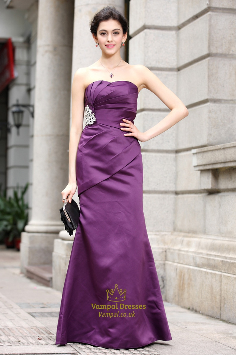 Purple Satin Prom Dress