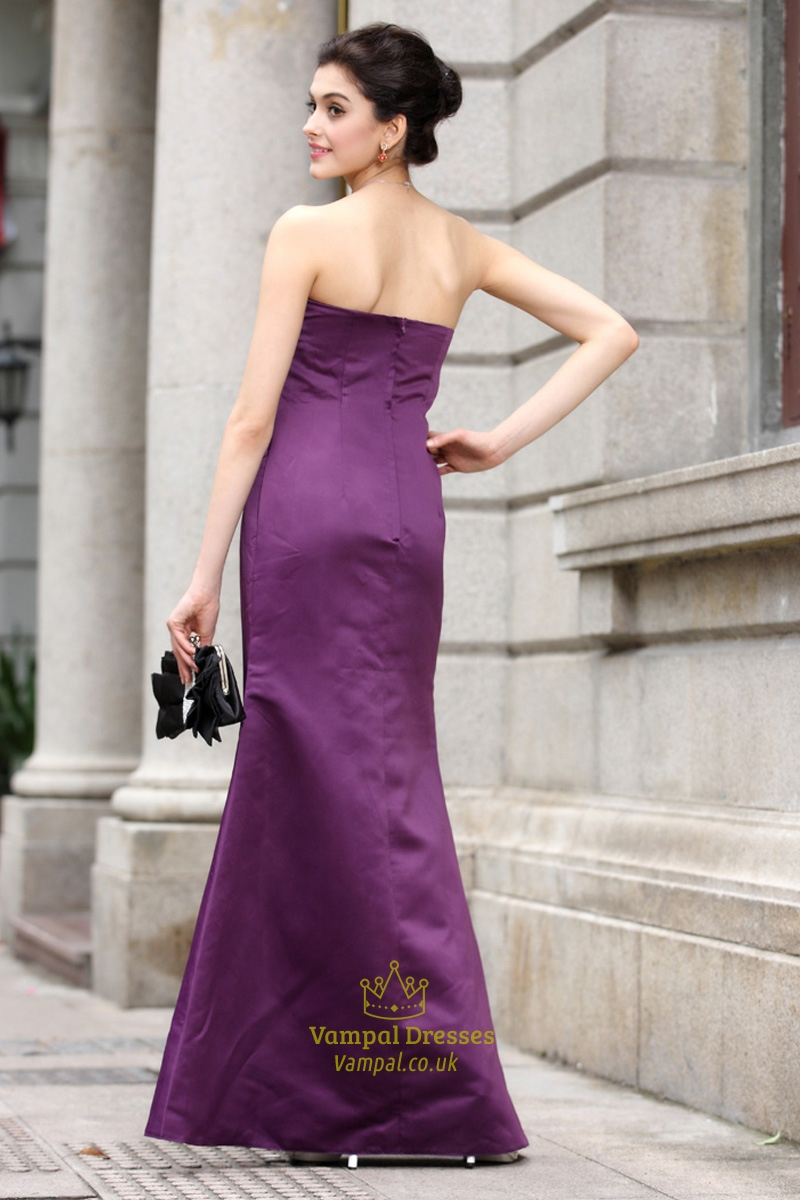 Purple Sweetheart Prom Dresses Long,Long Purple Satin Bridesmaid ...