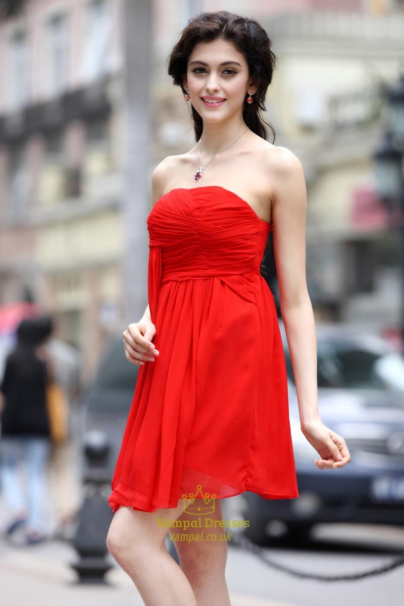 short red strapless bridesmaid dressesred short dresses