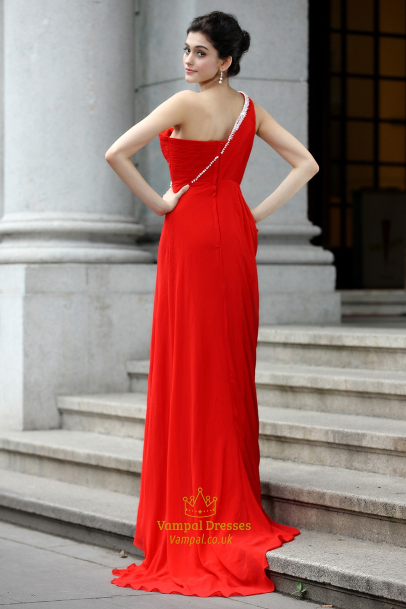 red one shoulder long prom dressred prom dresses with