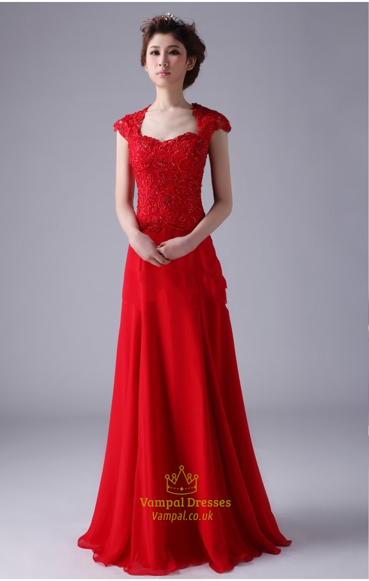 Red Cap Sleeve Prom Dresses Red Long Chiffon Prom Dress With Cap