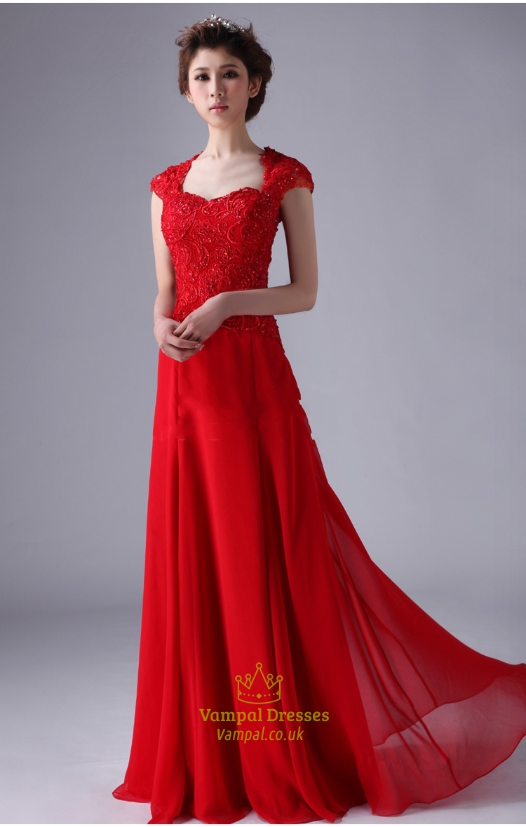 Red cap sleeve prom dresses red long chiffon prom dress for Red wedding dresses with sleeves