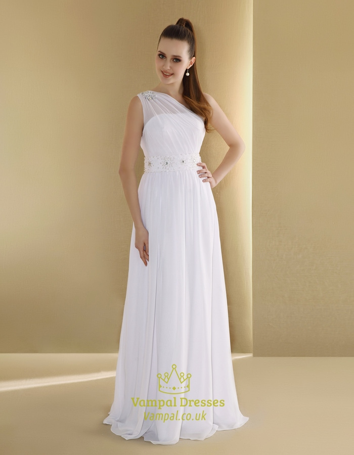 Chiffon One-Shoulder Neckline Slim A-Line Wedding Dress,One Shoulder ...