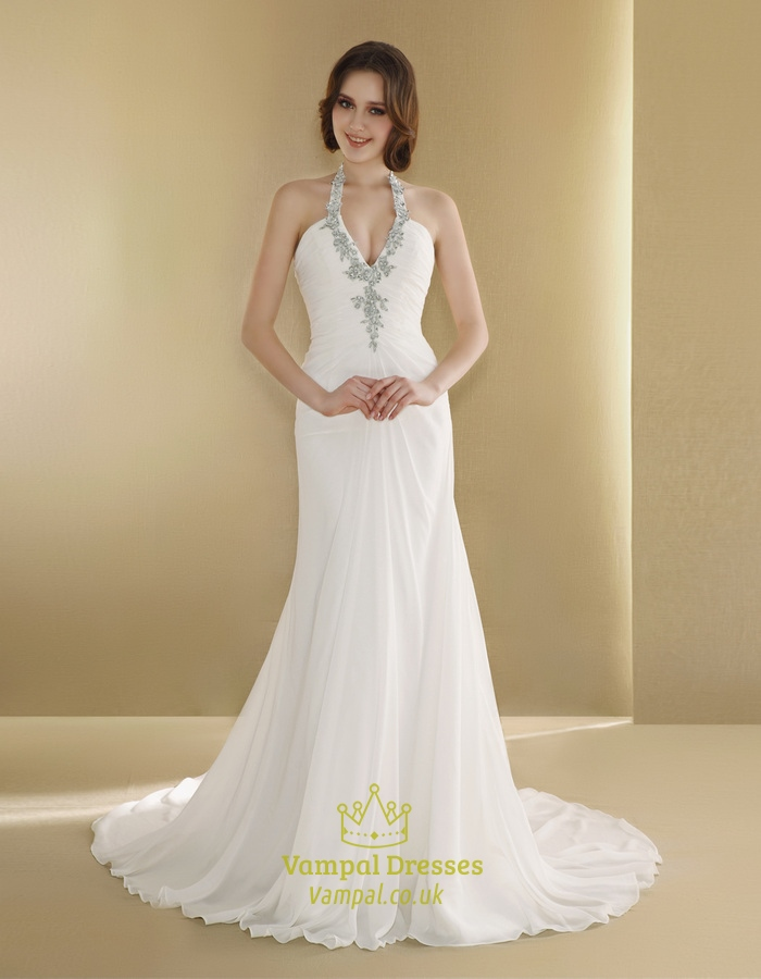 Halter Wedding Dress With Long Train,Simple Halter Neck Wedding ...