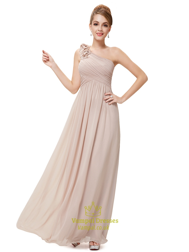 Long Blush Pink Bridesmaid Dresses One Shoulder One