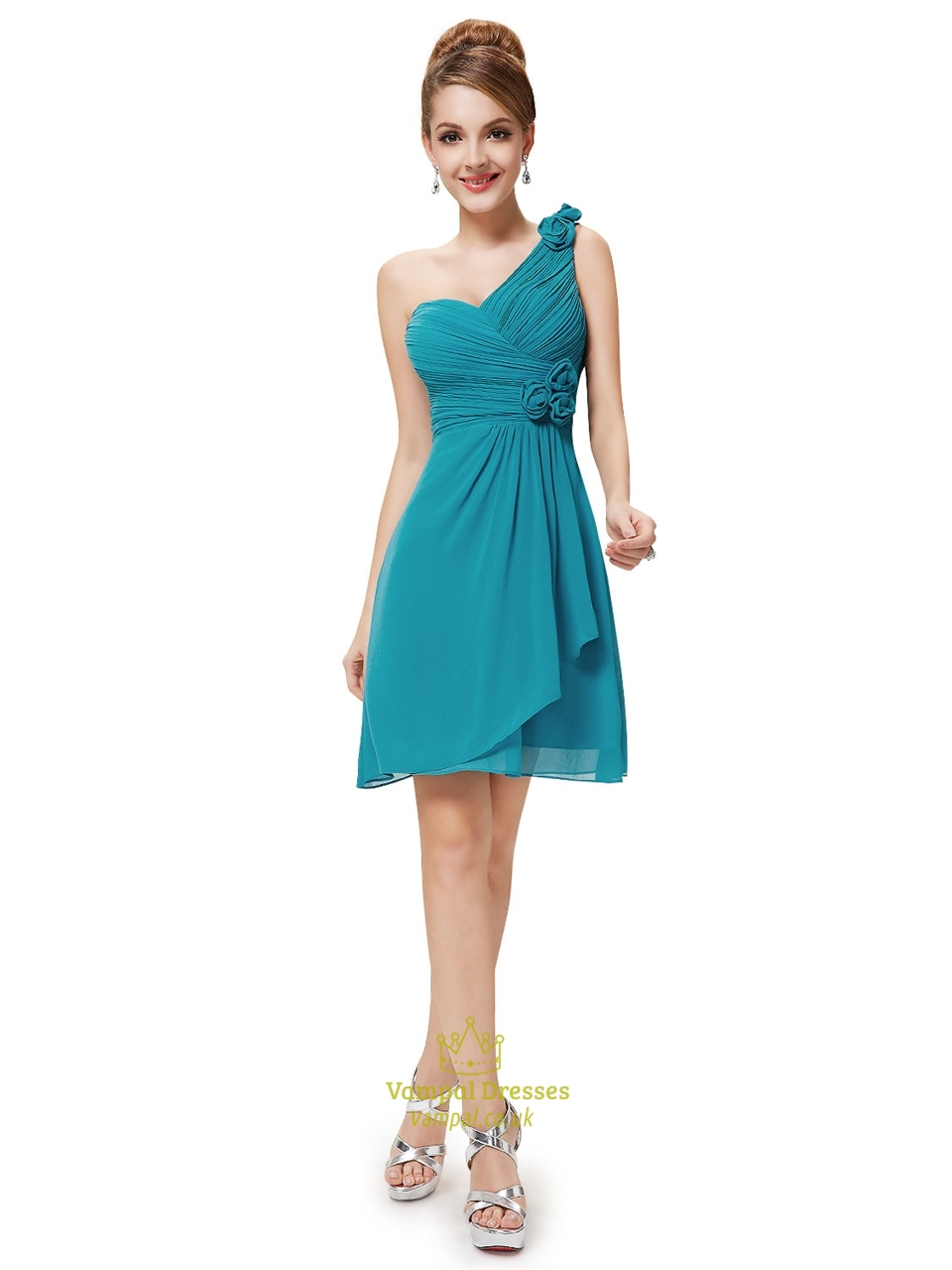 Teal Blue Colored Cocktail Dresses - Fancy Bridesmaid Dresses