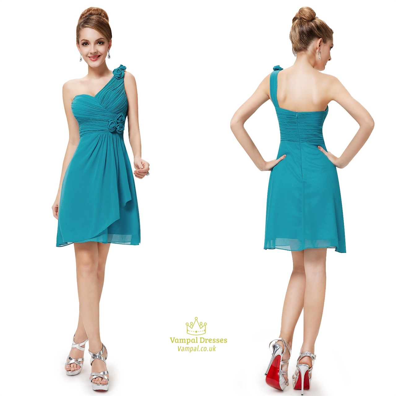 Teal short chiffon bridesmaid dresses short teal for Short wedding dresses uk