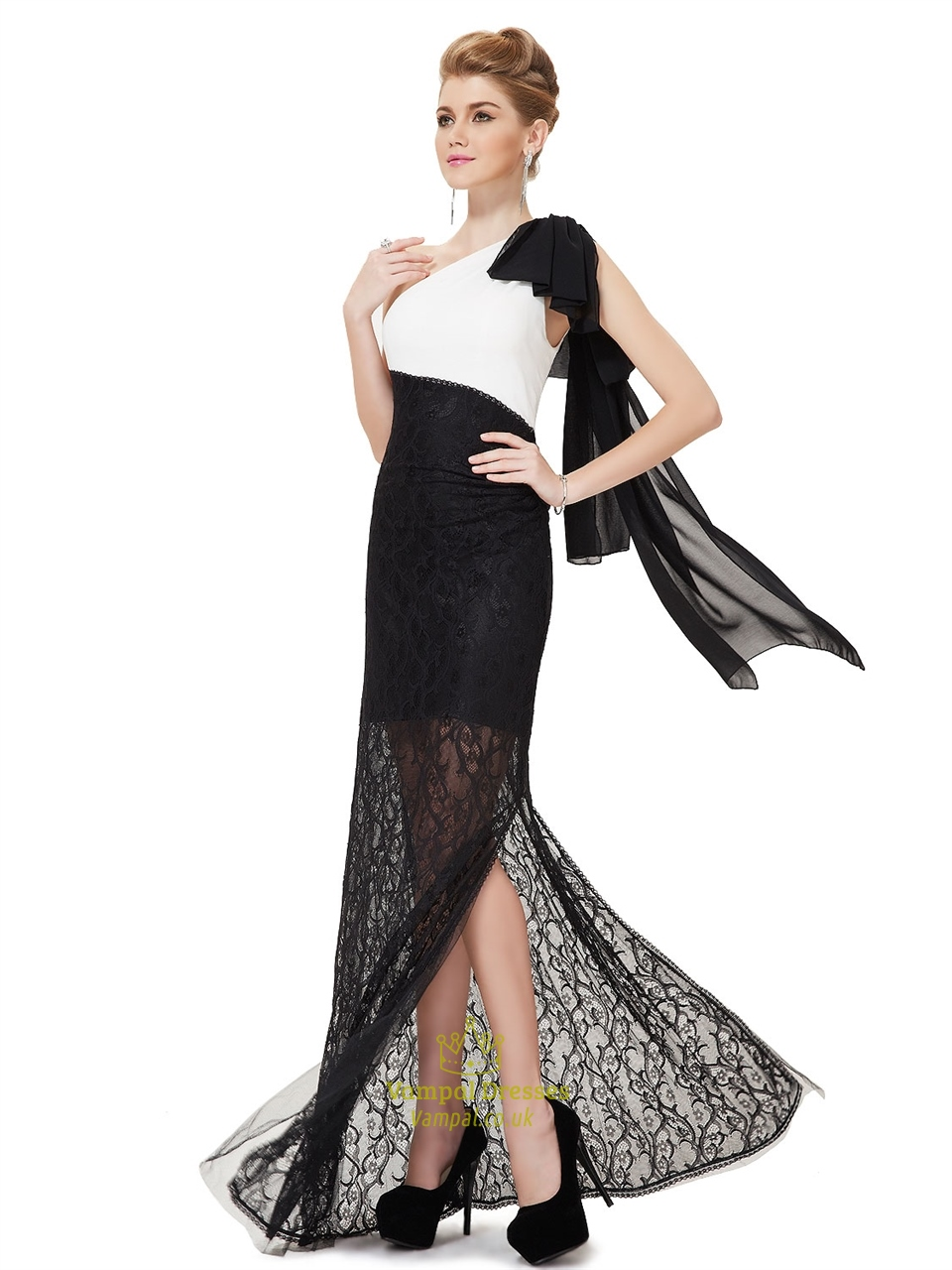 White And Black Lace One Shoulder Prom Dress,White Top ...One Shoulder Black Prom Dresses