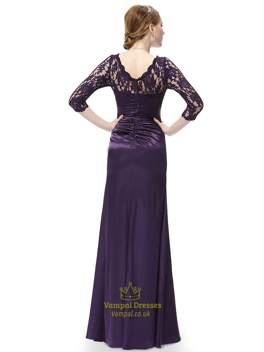 Dark Purple Long Prom Dresses With Lace Overlay Sleeves