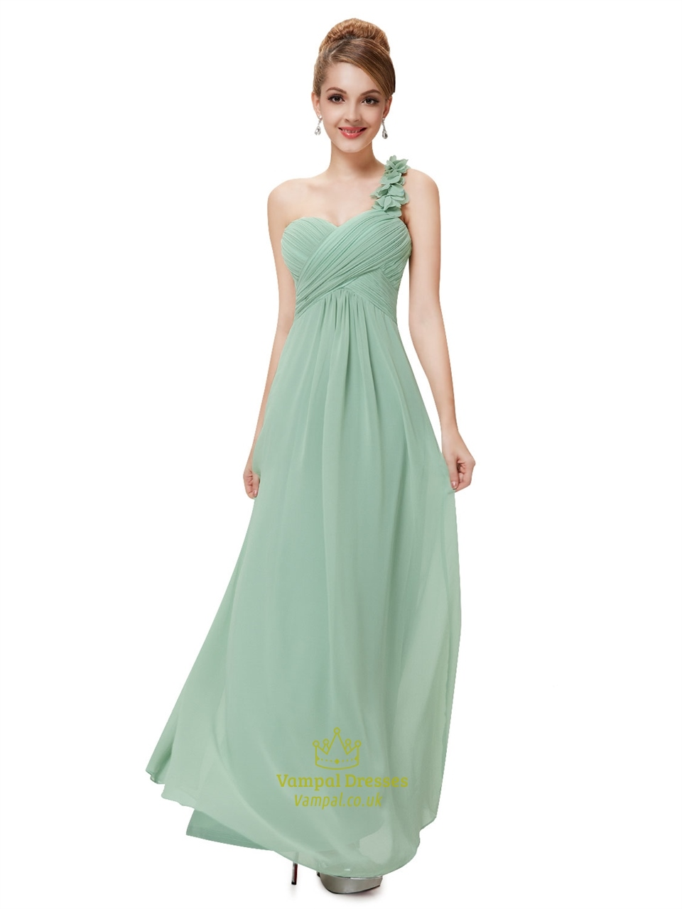 Sage green one shoulder chiffon bridesmaid dresses ukone shoulder color ombrellifo Gallery