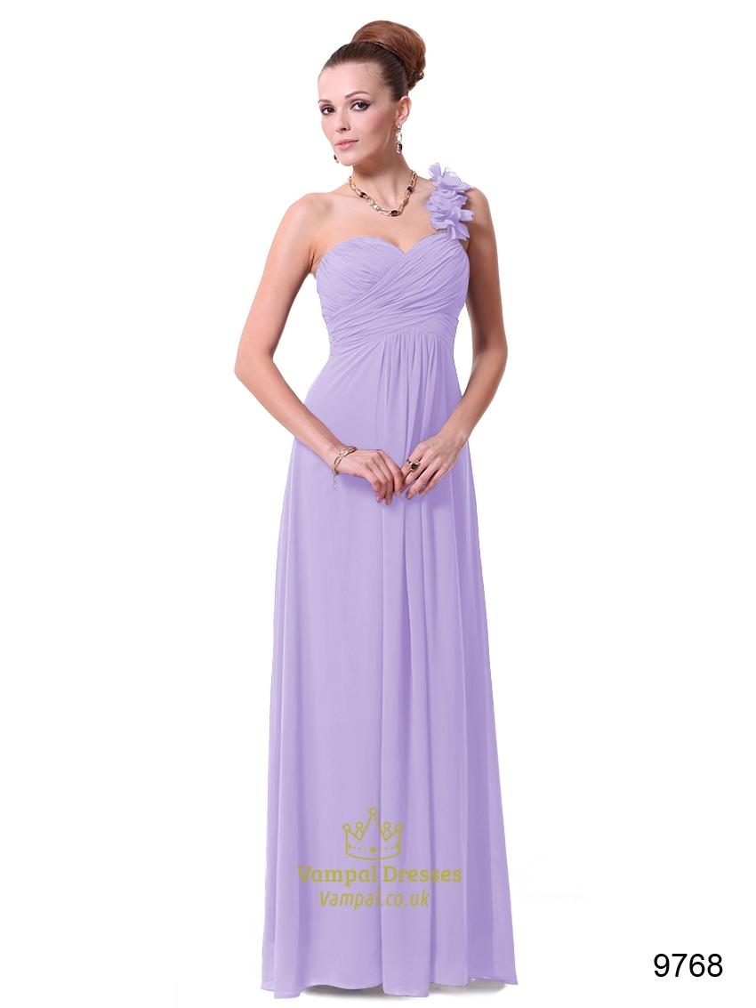 Lavender One Shoulder Chiffon Bridesmaid Dresses UK,One Shoulder ...