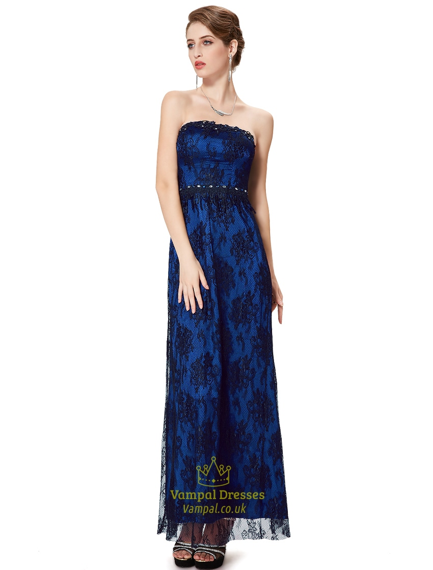 Royal blue and black lace dress dress blog edin for Blue lace wedding dress