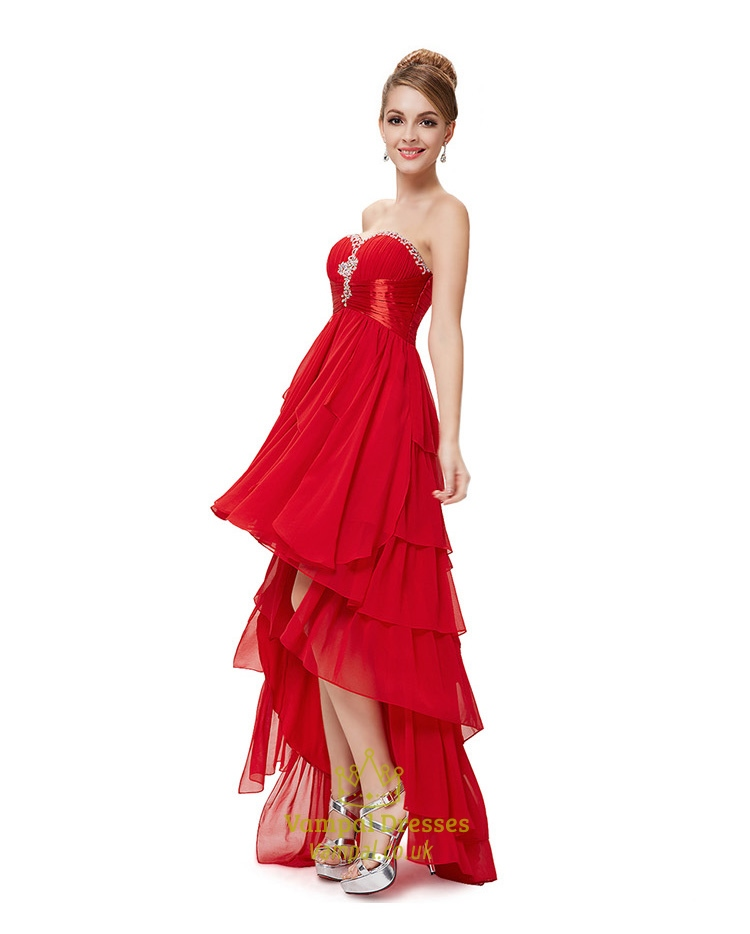 High Low Prom Dresses With Ruffles,Red High Low Prom Dresses 2015 ...
