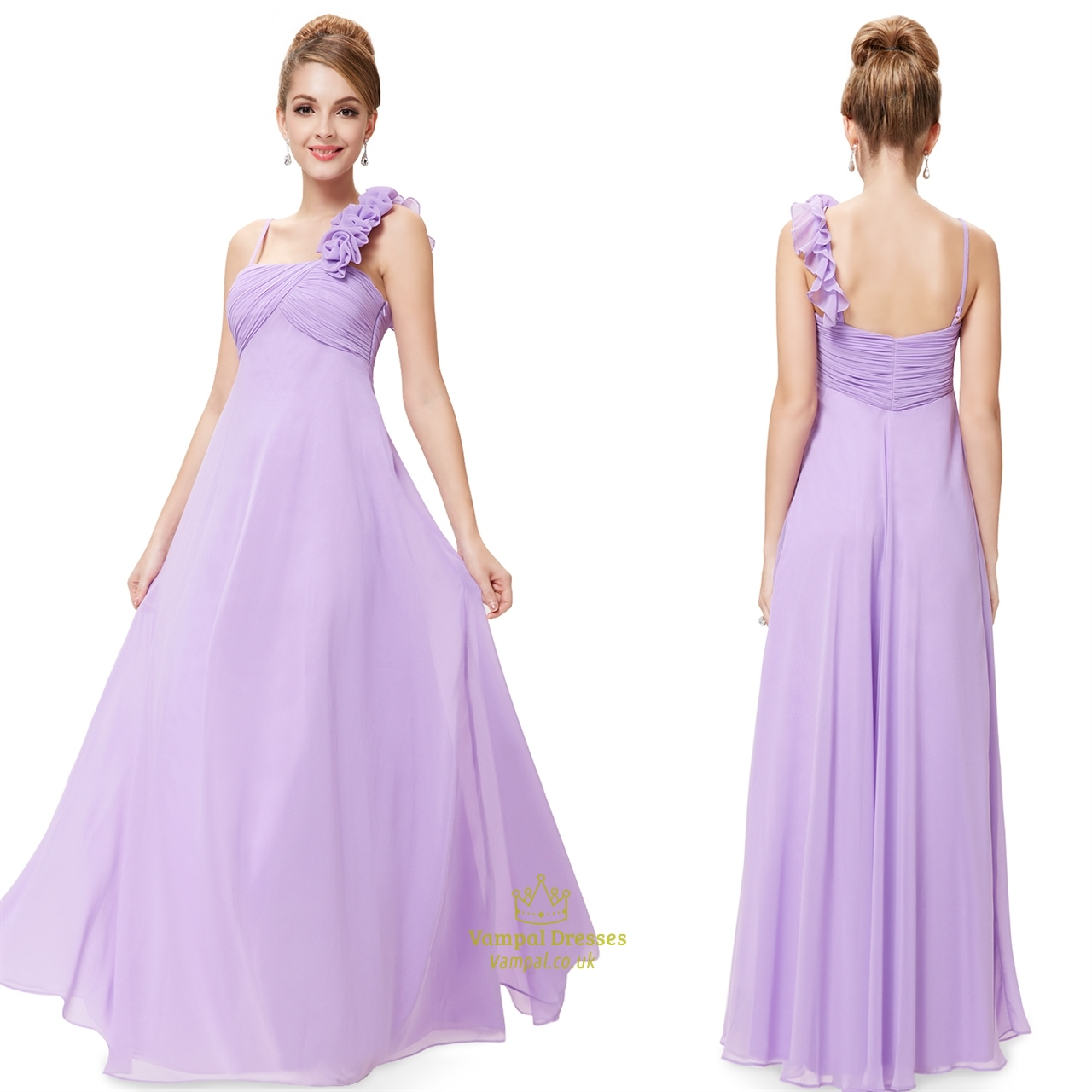 Lavender Chiffon One Shoulder Bridesmaid Dresses Long,One Shoulder ...