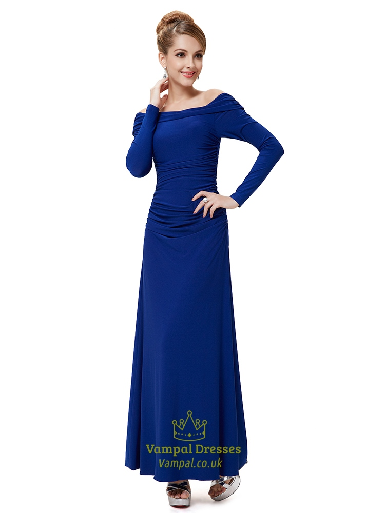 Royal Blue Long Prom Dresses With Sleeves,Off The Shoulder Long ...