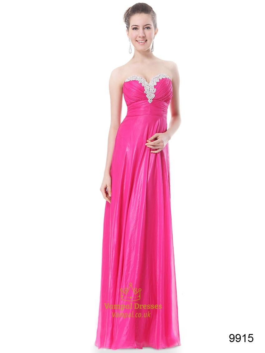 Hot Pink Long Chiffon Sweetheart Bridesmaid Dress 2017