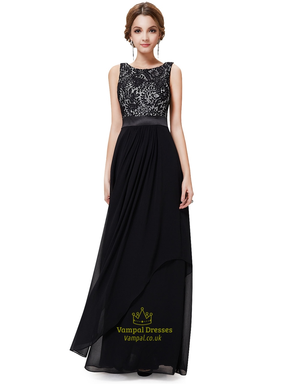 Black And White Lace Prom Dresses,Black Lace Top Cap Sleeves Evening Gown
