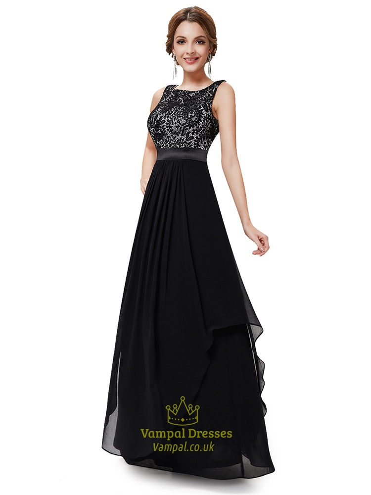 Black And White Lace Prom Dressesblack Lace Top Cap Sleeves Evening