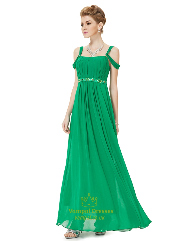 Green Prom Dresses With Strapsgreen Off Shoulder Straps Evening
