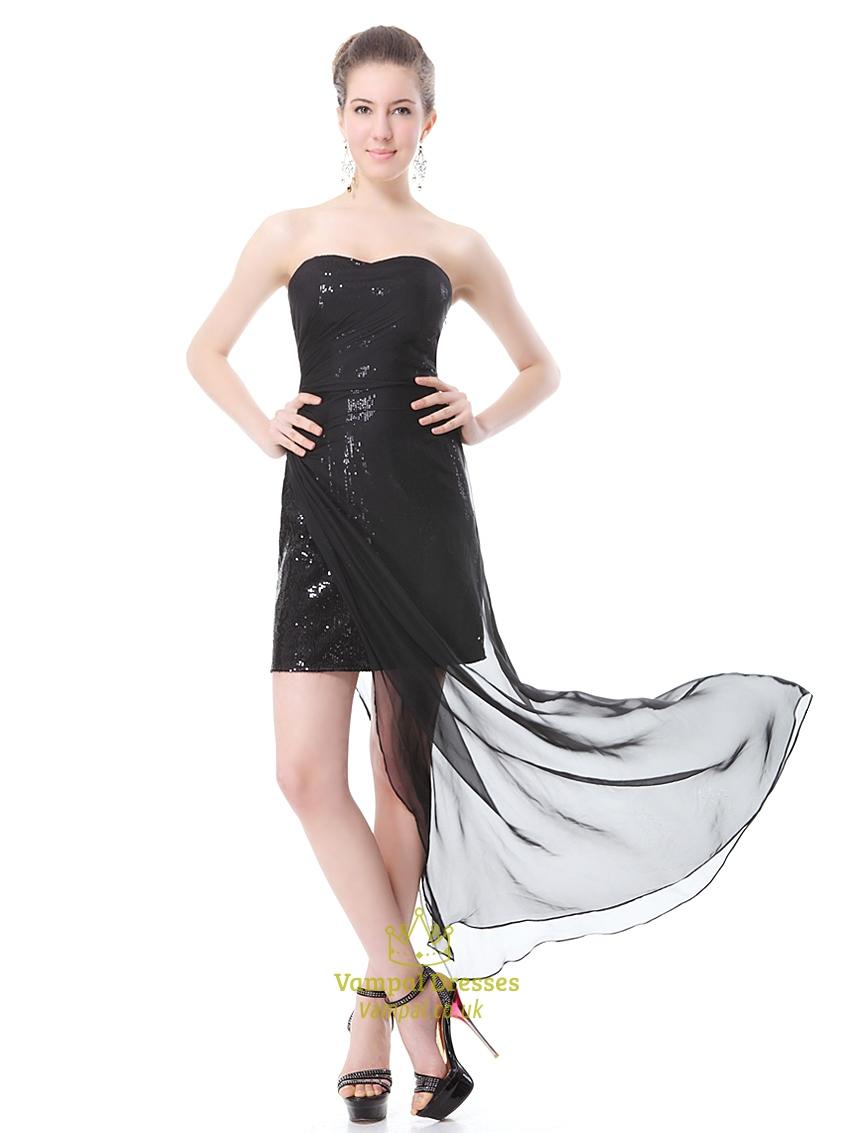 Black Sequin Mini Dress With Sheer Overlay Black Short