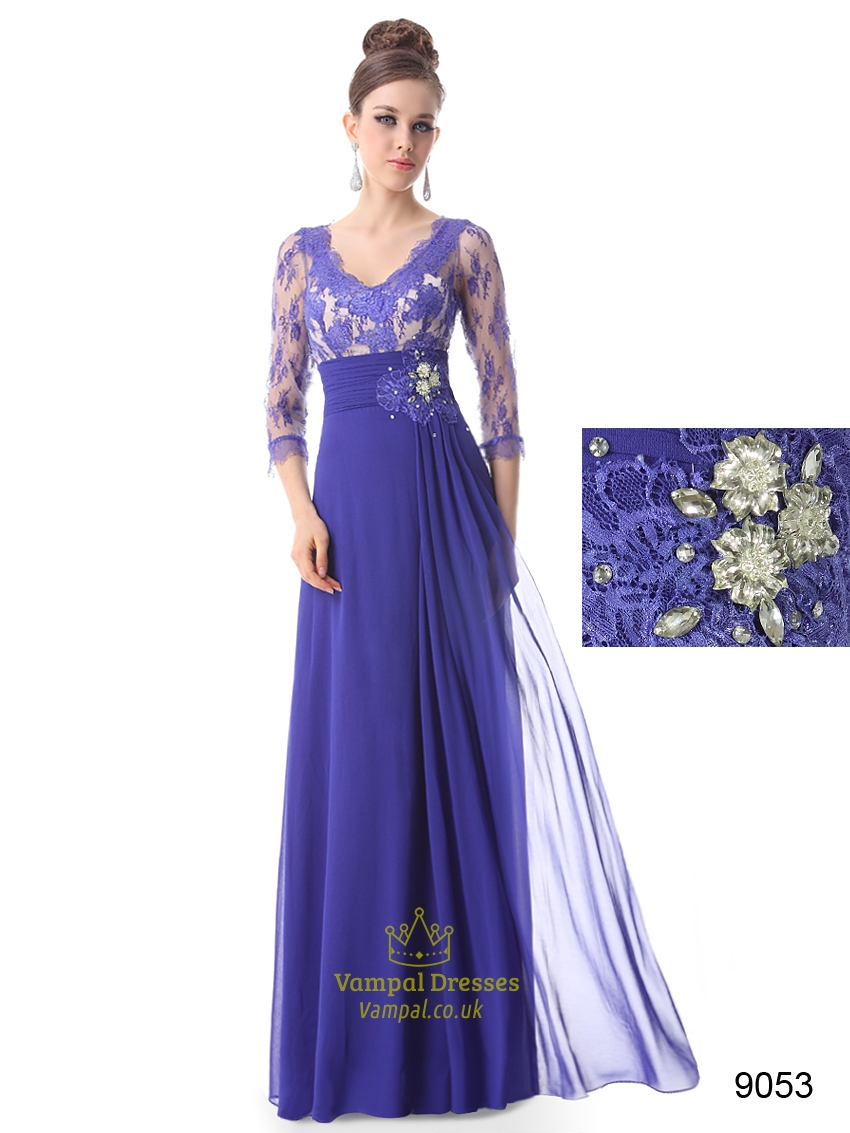 Blue Mother Of The Bride Dress Floor Length With Jacket