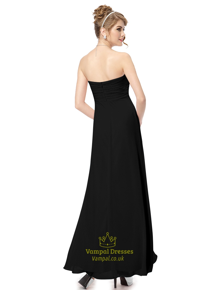 Black bridesmaid dresses long different styles sweetheart for Wedding dress neckline styles