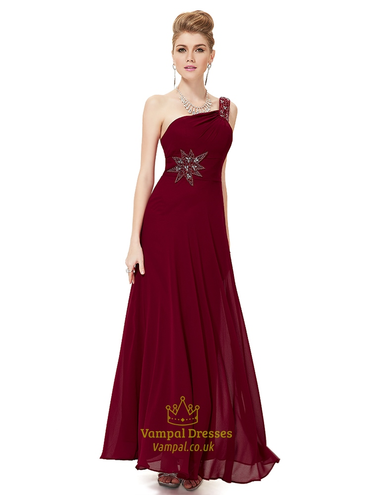 45d39b719794 Maroon One Shoulder Dress