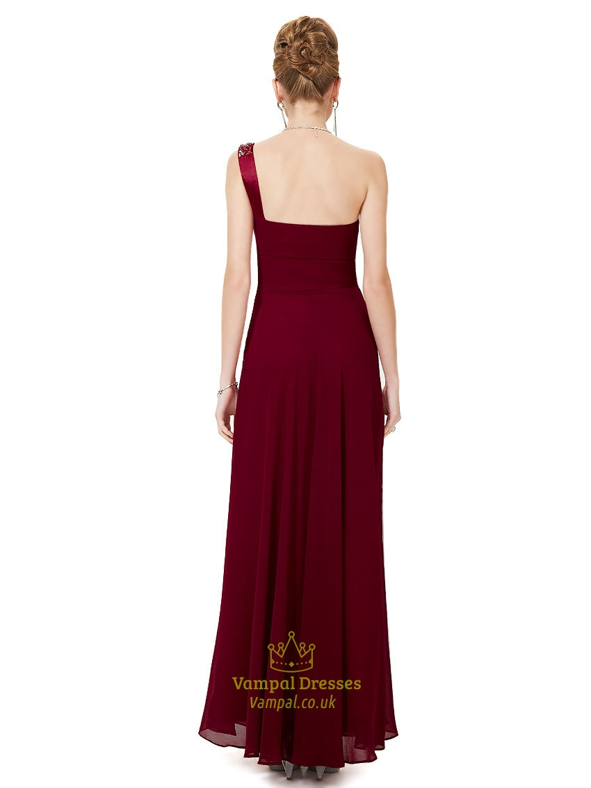 Maroon one shoulder dressburgundy one shoulder bridesmaid for Maroon dresses for wedding