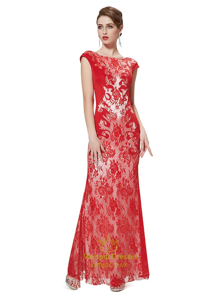Red Lace Mermaid Prom Dresses,Red Mermaid Evening Dresses With Lace ...