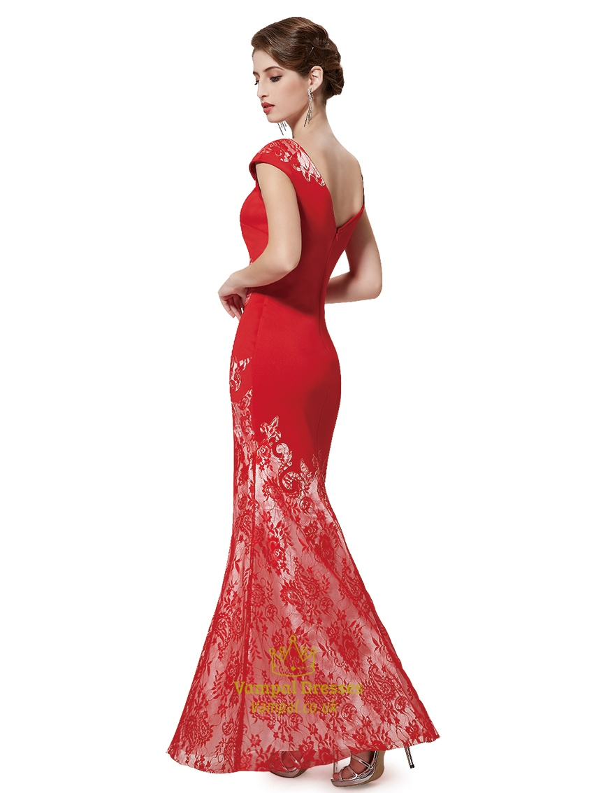 Red lace mermaid prom dress