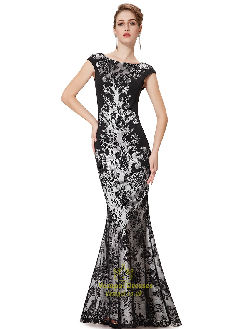 Black Lace Mermaid Prom Dresses 2015,Long Black Lace Mermaid Prom ...